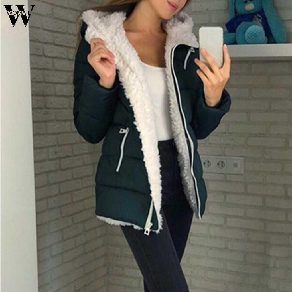 Womail レディース CoatsFashion 女性冬の厚み長袖暖かいジャケット上着ジッパーコート女性コート S-5XL