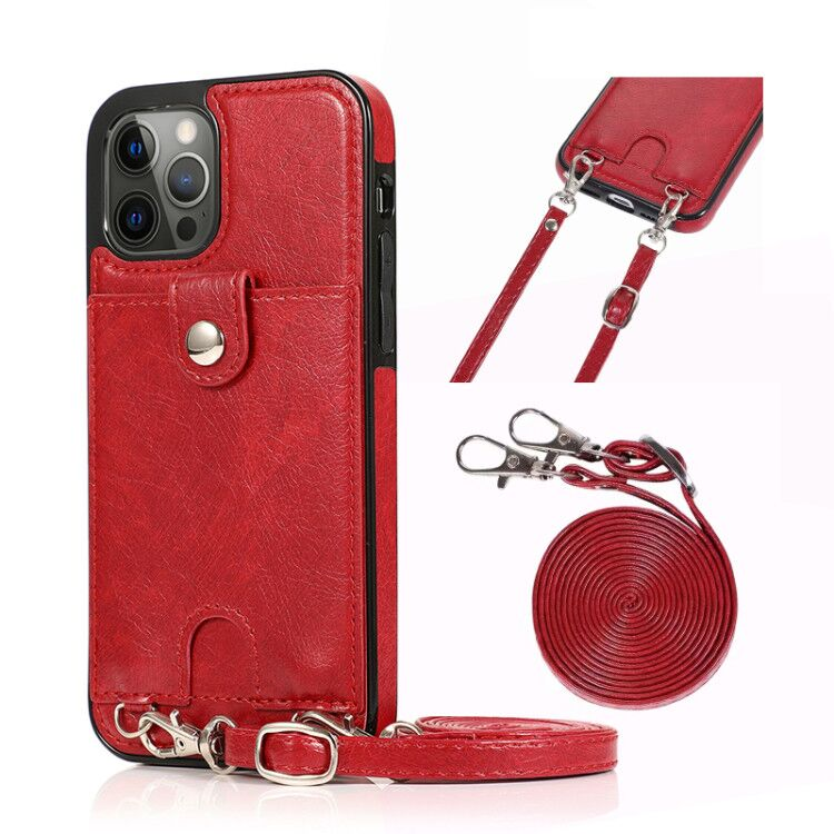 Case For Iphone 12 Mini PU Leather Card Slot Lanyard Crossbody Wallet Phone Case For Iphone 12 12 Pro Max Shoulder Strap Cover