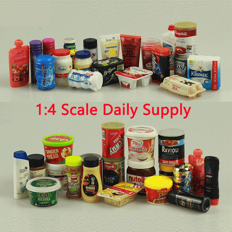 1:4 Large Scare Daily Supply Model Supermarket Kitchen Bathroom Cleaning Doll Accessories