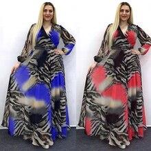MD African Print Chiffon Dresses For Women Long Sleeve Evening Gowns Plus Size Muslim Fashion Abaya 2021 New Party Ankara Attire