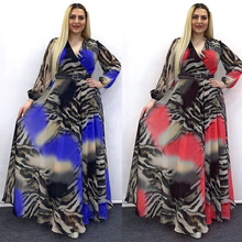 Chiffon-Dresses Attire Abaya Evening-Gowns MD Long-Sleeve Muslim African Print Ankara