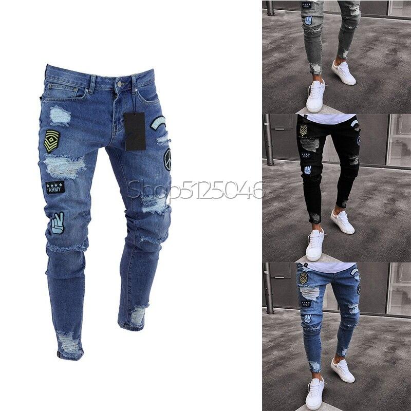 2020 Pantalones Vaqueros Rasgados Elegantes De Los Hombres Pantalones Vaqueros Delgados Del Dril De Algodon Del Hip Hop Tamano Pantalones Vaqueros Aliexpress
