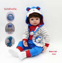 47cm Realistic Reborn Baby Doll Soft Silicone Filled Realistic Baby Doll Ethnic Toy Doll for Kids Birthday Christmas Gift 55cm 22inch realistic reborn baby doll soft silicone stuffed lifelike baby new born doll toy ethnic doll for kids christmas gift