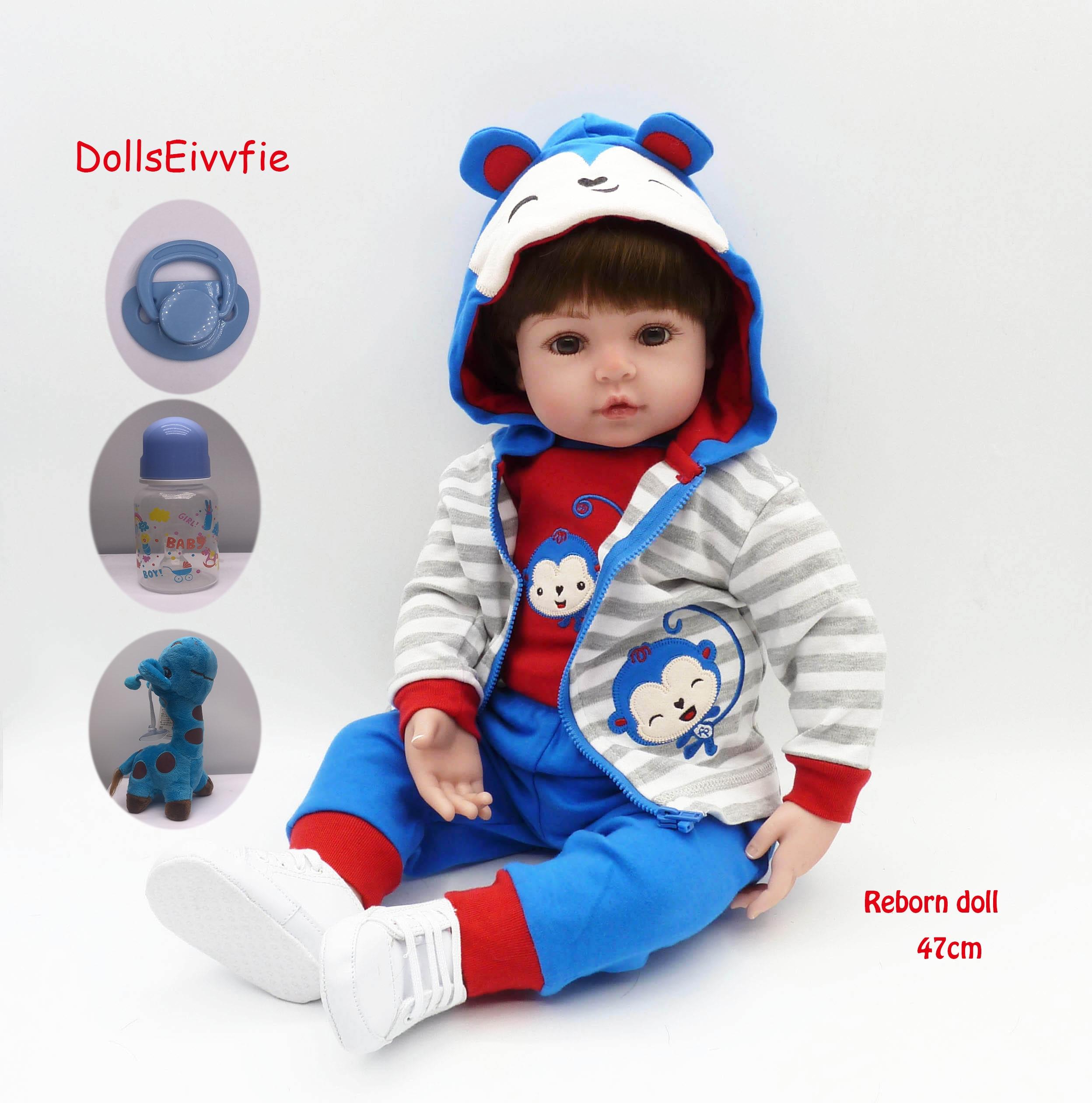 47cm réaliste Reborn bébé poupée en Silicone souple rempli réaliste bébé poupée ethnique jouet poupée pour enfants anniversaire cadeau de noël