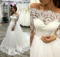 2019 Off Shoulder Wedding Dresses Long Sleeves Lace Appliues Button Back Sweep Train Bride Dress Bridal Gowns Vestido De Noiva