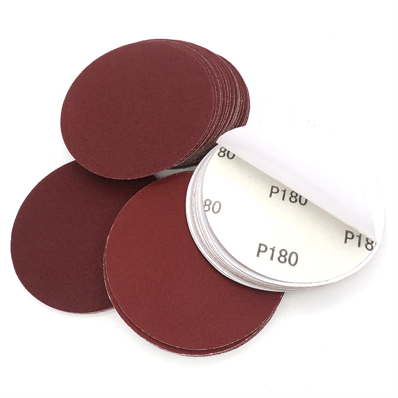 5-Inch Red Sand Gum Sandpaper 125 Mm Round Plates Dry Sand Dry Grinding Polishing Adhesive Sticker Sandpaper
