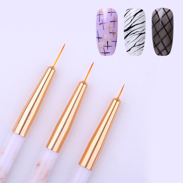 3 Pcs Nail Liner Brush Set UV Gel Drawing Painting Acrylic Pen Marble Pattern Handle Nail Art Manicure UV Gel Nail Art Tool