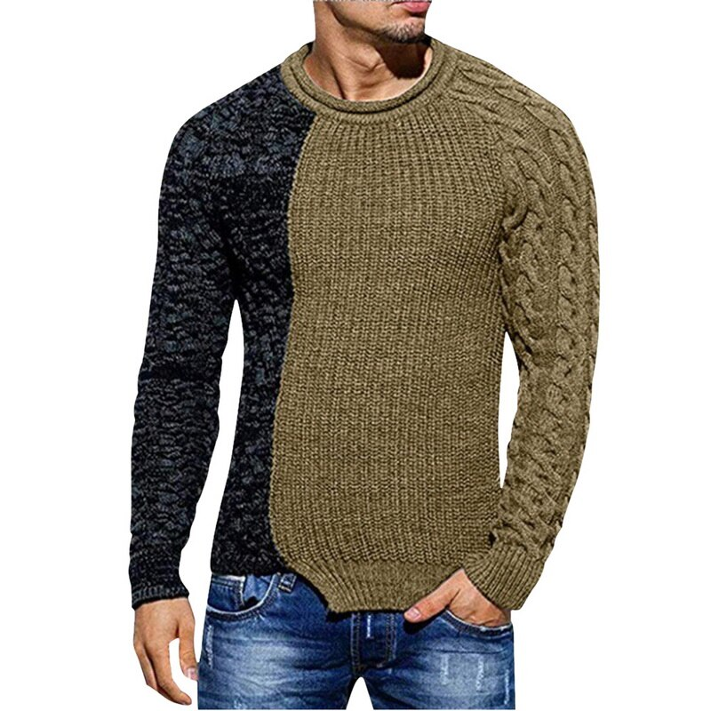 SHUJIN Autumn Winter Men Sweater Fashion Round Neck Color Matching Long Sleeve Wild Pullover Slim Patchwork Sweater Mens