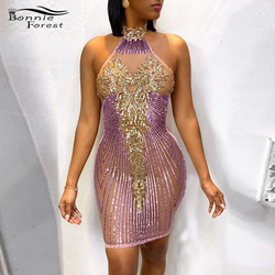Bonnie Forest Glamorous Sequin Detail Shift Mini Dress 2020 New Women Glitter Backless Sequins Prom Party Dress Birthday Outfits