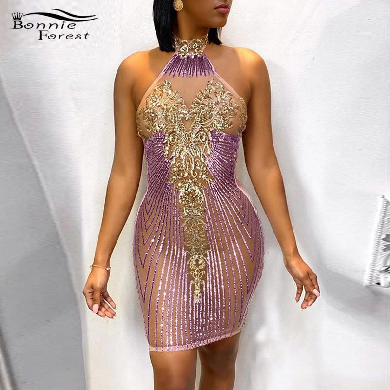 Bonnie forest glamouroso lantejoulas vestido, mudança de detalhe, mini vestido feminino, glitter, costas nuas, lantejoulas, baile, roupas de aniversário 2020