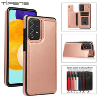Leather Case Voor Samsung Galaxy A52 A72 A51 A71 A50 A70 A22 A82 A12 A42 A21 A30 A20 A10 M10 S E A11 A40 A90 5G Card Stand Cover