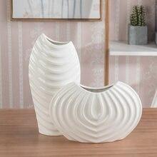 Скандинавская креативная керамическая ваза белая Резьбовая декоративная
