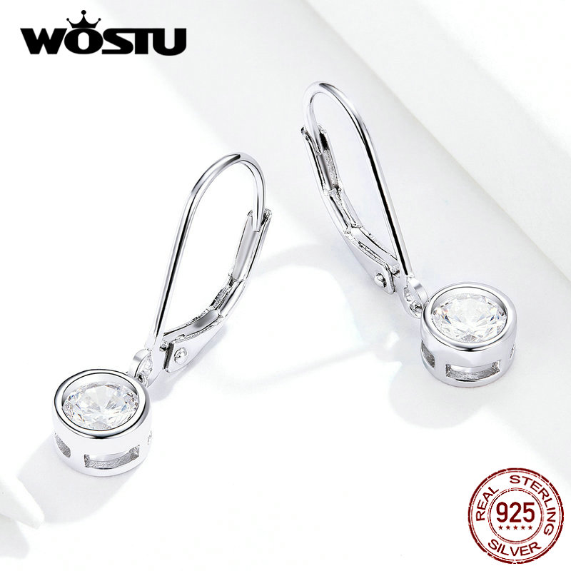 WOSTU Hot Sale Exquisite Round Zircon Drop Earrings 925 Sterling Silver For Women Wedding Earrings Silver 925 Jewelry FIE747