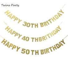 Twins Party 1Set  30th 40th Happy Birthday Letter Bunting Banner Decorations Supplies Anniversary Decoration
