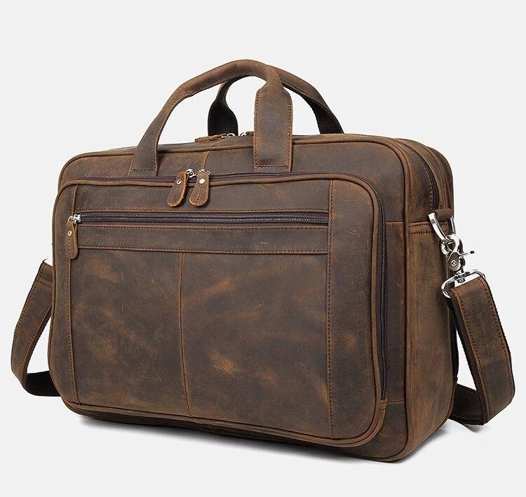 MAHEU Vintage Leather Men Bag Genuine Leather Laptop Briefcase Bag Real Cowskin Business Handbag Leather Mens Male Portfolio