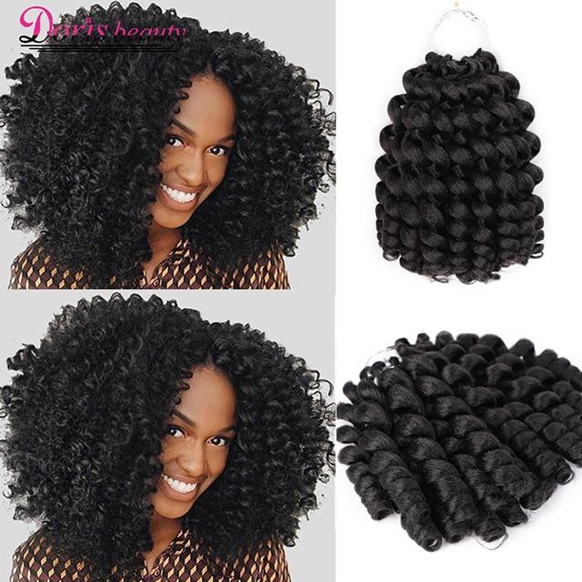 Doris Beauty Ombre Braiding Hair Jumpy Wand Curl Crochet Braids Jamaican Bounce 8inch Synthetic Crochet Hair Extension For Women