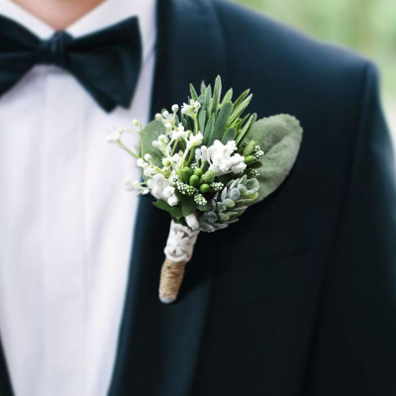 Boutonnieres Groom Flower <font><b>Marriage</b></font> Prom Brooch Pins Green Plant Burlap Natural Boutonniere Corsage image