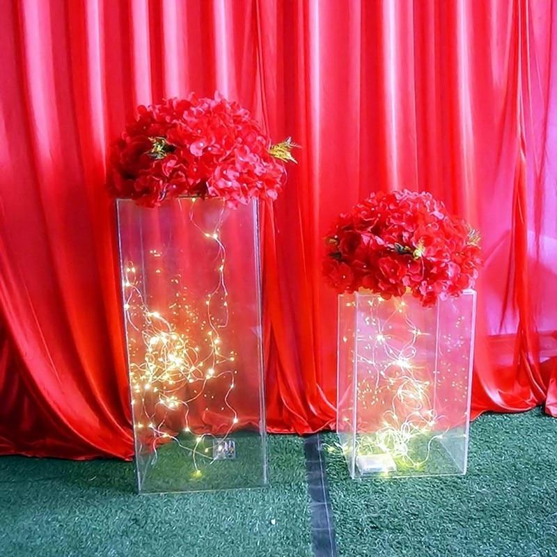 wedding : Acrylic Wedding Flower Stand Aisle Crystal Clear Square Column Wedding Decoration Flower Frame Road Decoration Column party