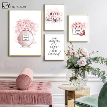 Flower Perfume Fashion Quotes Painting Makeup Artwork Poster Floral Canvas Print Wall Art Picture Modern Girl Room Decoration perfume fashion poster eyelash lips makeup print canvas art painting pink flower wall picture modern girl room home decoration