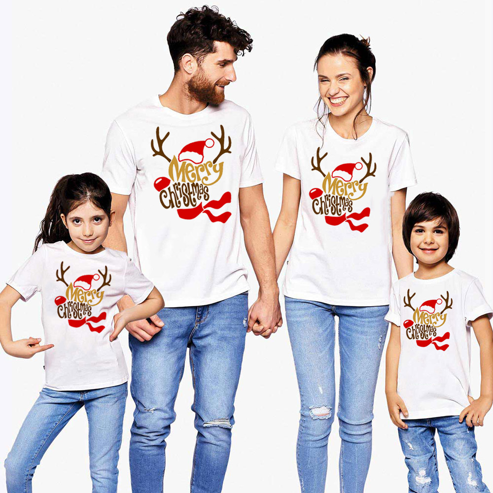 Merry Christmas 1pcs Family Matching Clothes Outfit Mommy Daddy Daughter Son T Shirt Mom Dad And Kids Match Funny T-shirt