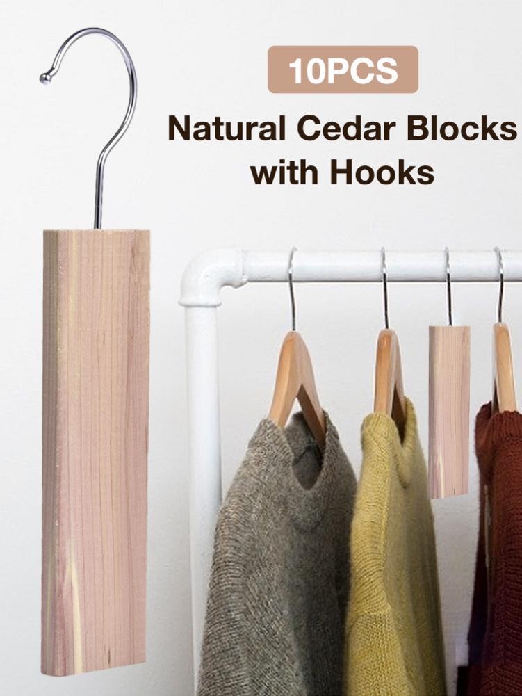 10PCS Dehumidification Cedar Hang Ups Set Natural Cedar Blocks With Hooks For Clothes Closets Drawers Cedar Board