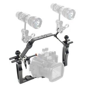 Image 3 - Dual Griff Grip Bracket Handheld Expansion Montieren mit Clip Schraube Adapter Top Griff Shutter Verlängerung Sport Kamera Unterwasser