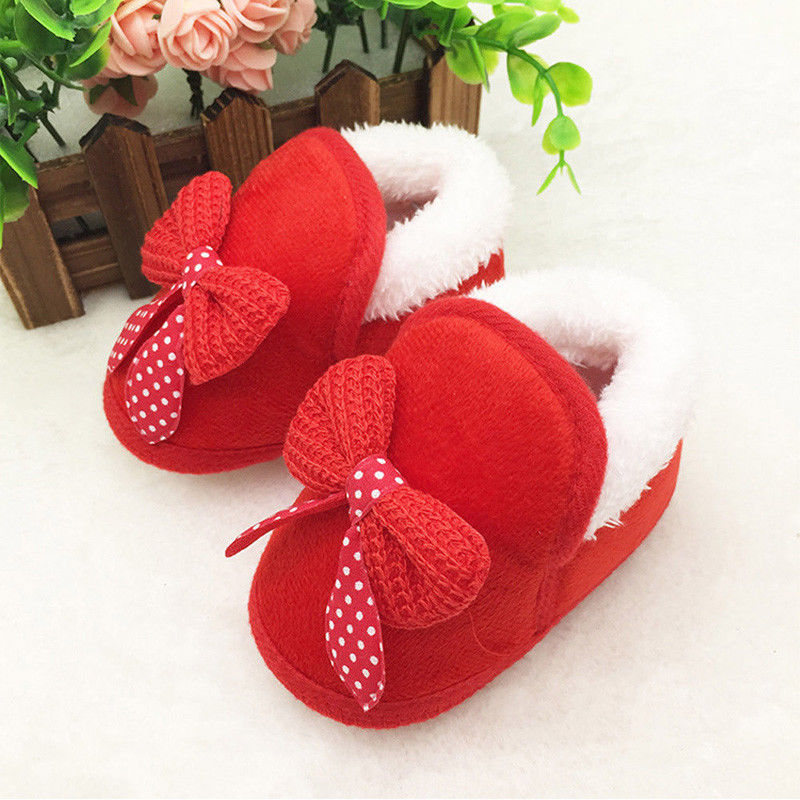 Toddler Infant Newborn Baby Girls Bow Soft Crib Sole Boots Prewalker Warm Shoes Pink Red 0-18M