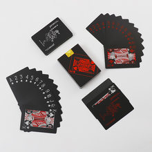 Jeu de cartes de Poker en aluminium, créatif, PVC noir, étanche, magique, divertissement, fête
