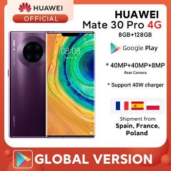 Оригинальный Huawei Mate 30 Pro 8G 128 Гб/256 Гб Смартфон 6,53 'дюймовый Kirin 990 задний 40MP передний 32MP Android 10 Max 40W зарядное устройство