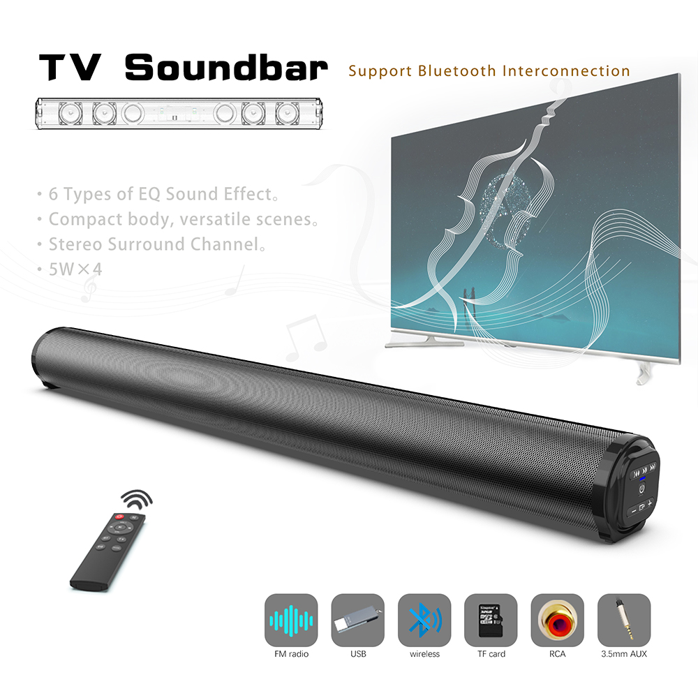 20W Home TV Sound Bar for Xiaomi Bluetooth Speaker With Subwoofer 3D Surround Stereo Speakers Wireless Soundbar for PC Computer