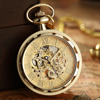 Vintage Watch Necklace Steampunk Skeleton Mechanical Fob Chain Pocket Watches Roman Number Clock Pendant Hand-winding Men Women hollow led luminous mechanical pocket watch luxury hand winding watches roman numeral fob chain pendants reloj de bolsillo