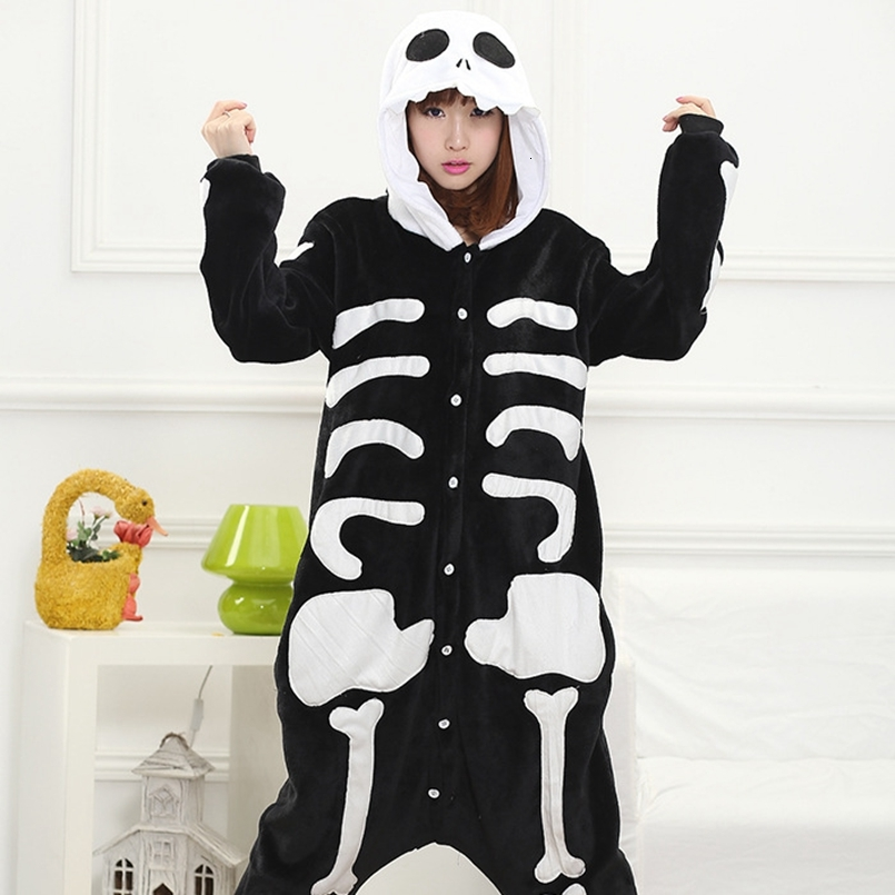 Adults Animal Pajamas Sets Cartoon Sleepwear Cosplay Zipper Women Men Winter Unisex Flannel Skeleton Skull Pajamas