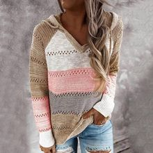 Laamei Sweater Women Color Patchwork Sweater Hollow out V-neck Pullovers Ladies Womens Hooded Sweater Knit Hoodies(China)
