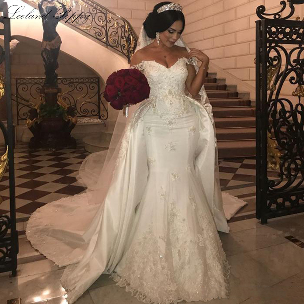 Lceland Poppy Mermaid Wedding Dresses 2020 Plus Size Off The Shoulder Lace Appliques Floor Length Satin Beaded Bridal Dress