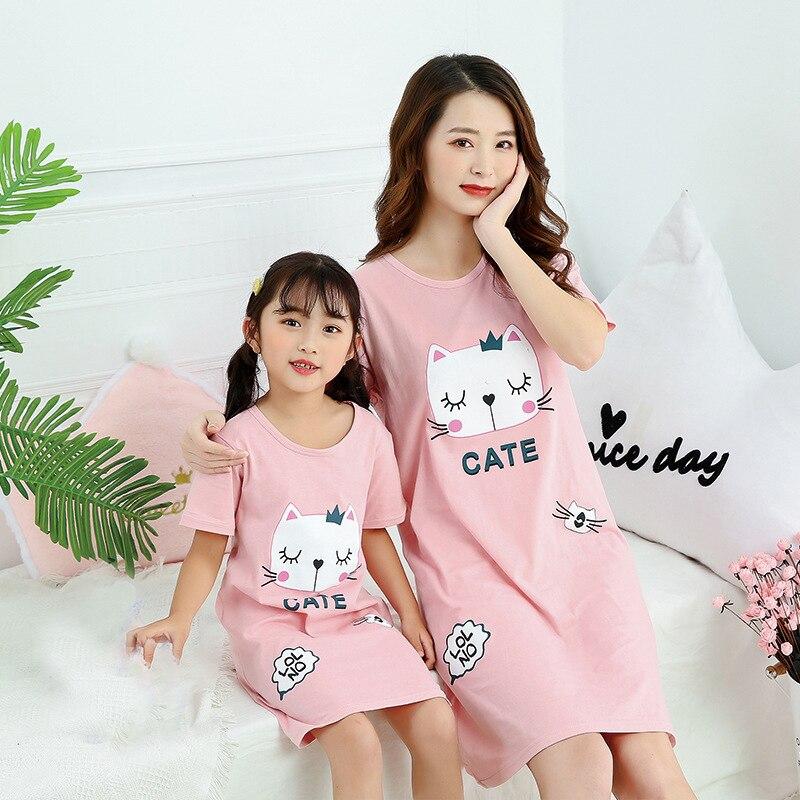 Летняя женская пижама, детская ночная рубашка с коротким рукавом, милая детская спальная одежда из 100% хлопка, размер 8, 10, 12, 14 лет
