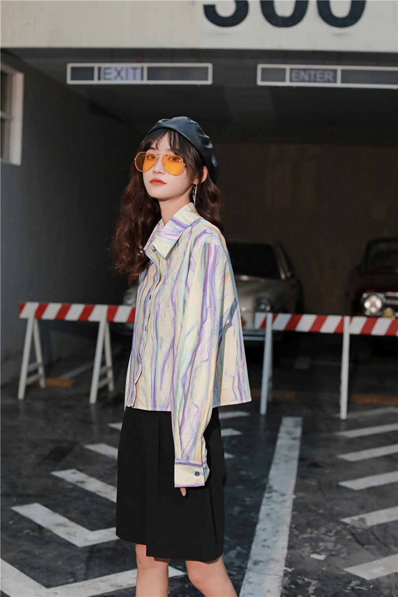 Cheerart Pastel Tie Dye Bergaris Lengan Panjang Kemeja Wanita Blus Atasan Musim Panas Biru Ungu Kemeja Desainer untuk Wanita Top Merek