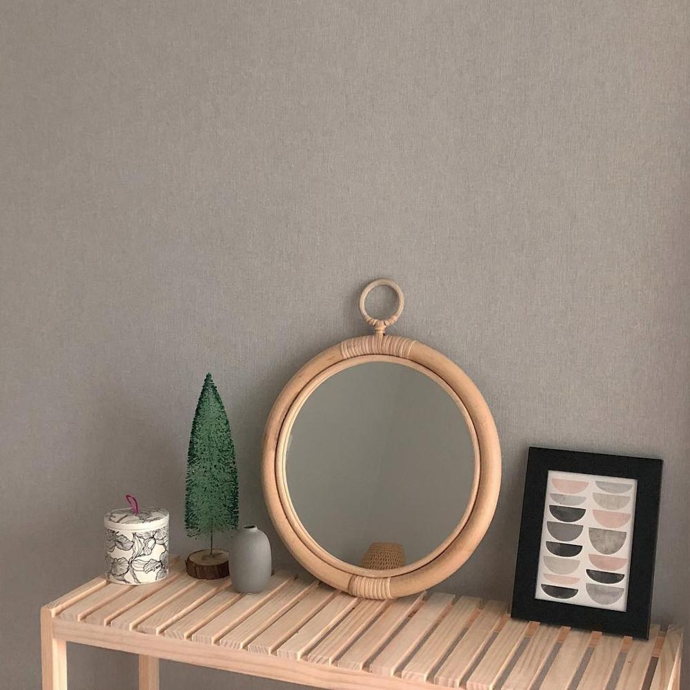 Ротанговое настенное зеркало, украшение дома, скандинавский Корейский Японский стиль, винтажное домашнее подвесное украшение ручной работы, круглые зеркала для макияжа 35 см|Декоративные зеркала|   | АлиЭкспресс - Зеркала