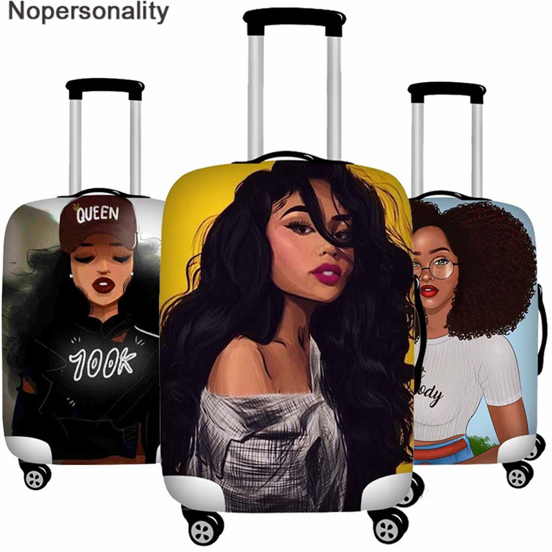 Nopersonality Girls Travel Accessories,African Girls Protective Suitcase Cover,Women Baggage Suitcase Cover African Afro Lady