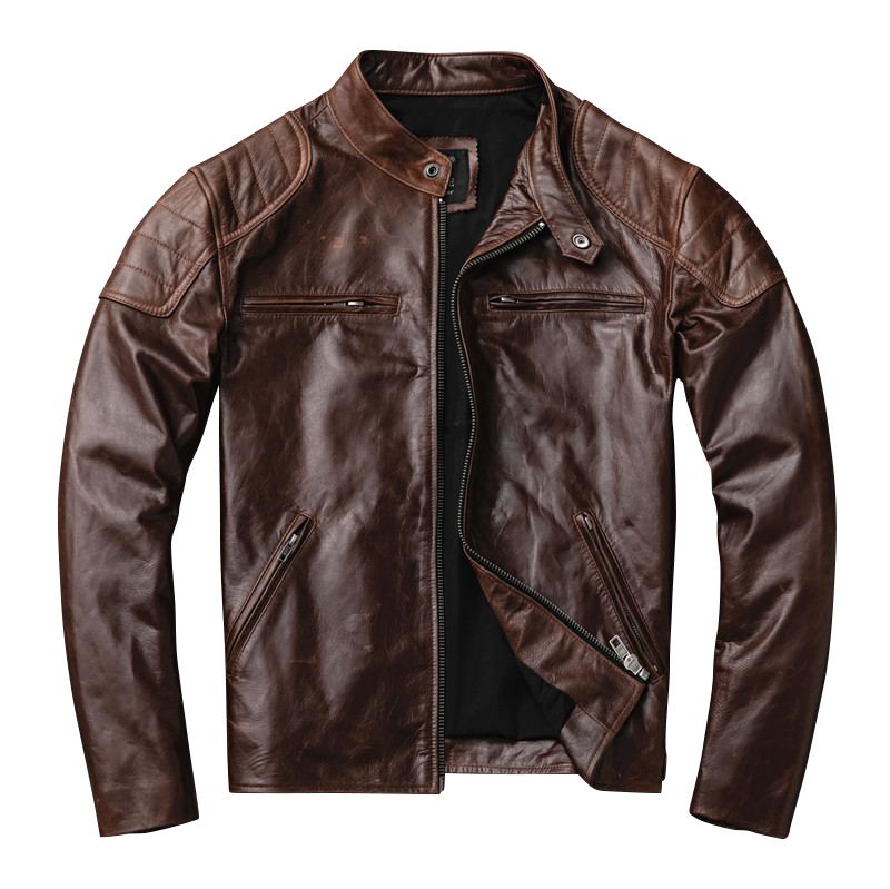 Free Shipping.Brand New Motor Biker Style.vintage Brown Genuine Leather Jacket,fashion Mens Tanning Goathide Coat,sales