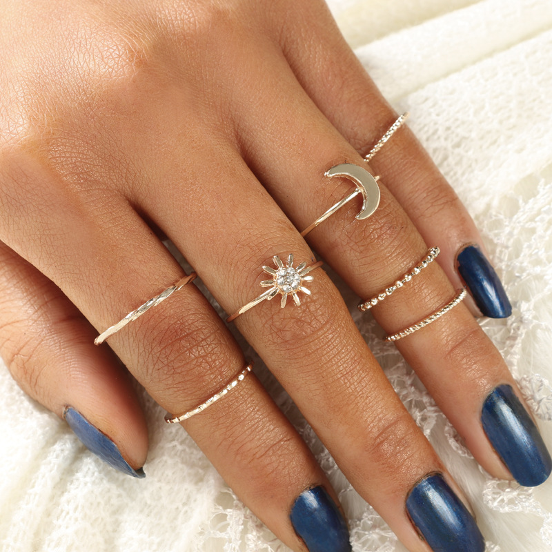 Simple Temperament Moon Sun Ring Alloy Thin Ring Combination 7 Pieces Set Rings Women Popular Accessories Fashion Jewelry Rings