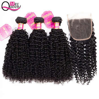 May Queen Peruvian Kinky Curly Bundles With Closure Human Hair Extensions Remy Hair Weave Bundles With 4x4 Closure Natural Color