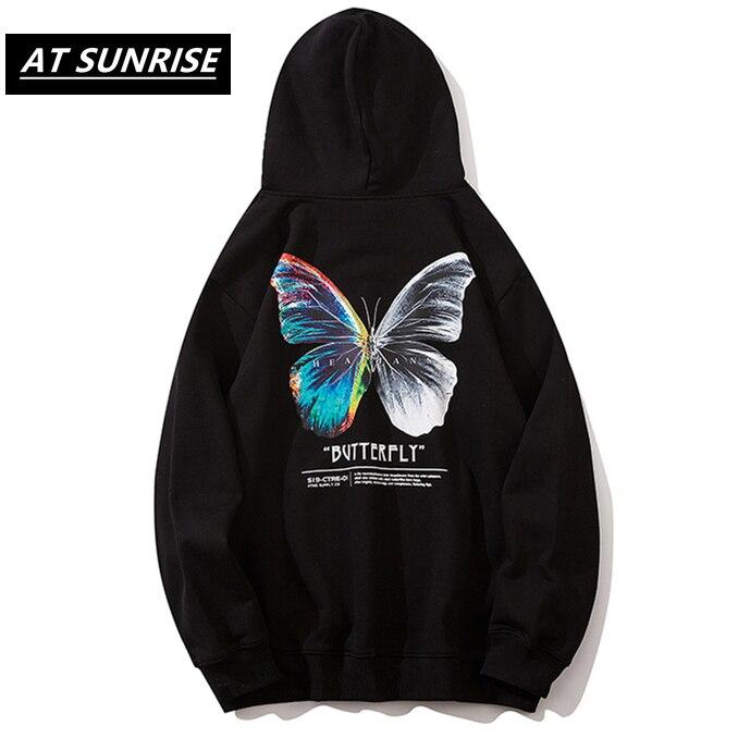 Hip Hop Oversize Hoodie Sweatshirt Men 2020 Streetwear Harajuku Color Butterfly Hooded Loose Hipster Fleece Hoodie Plus Size