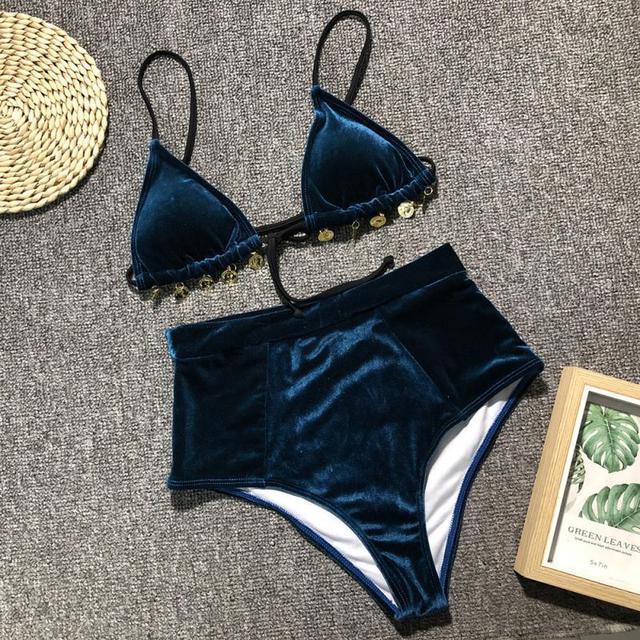 2019 Hot Gold Velvet Bikini Set Push Up Bathing Suit Brazilian Female Summer Beach Wear Sexy High Waist Swimwear