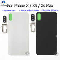 For iphone X XS MAX XSM XSMax Back Glass Housing + Back Camera Len Rear Crystal Panel Battery Cover Lid Shell Assembled EU Vers