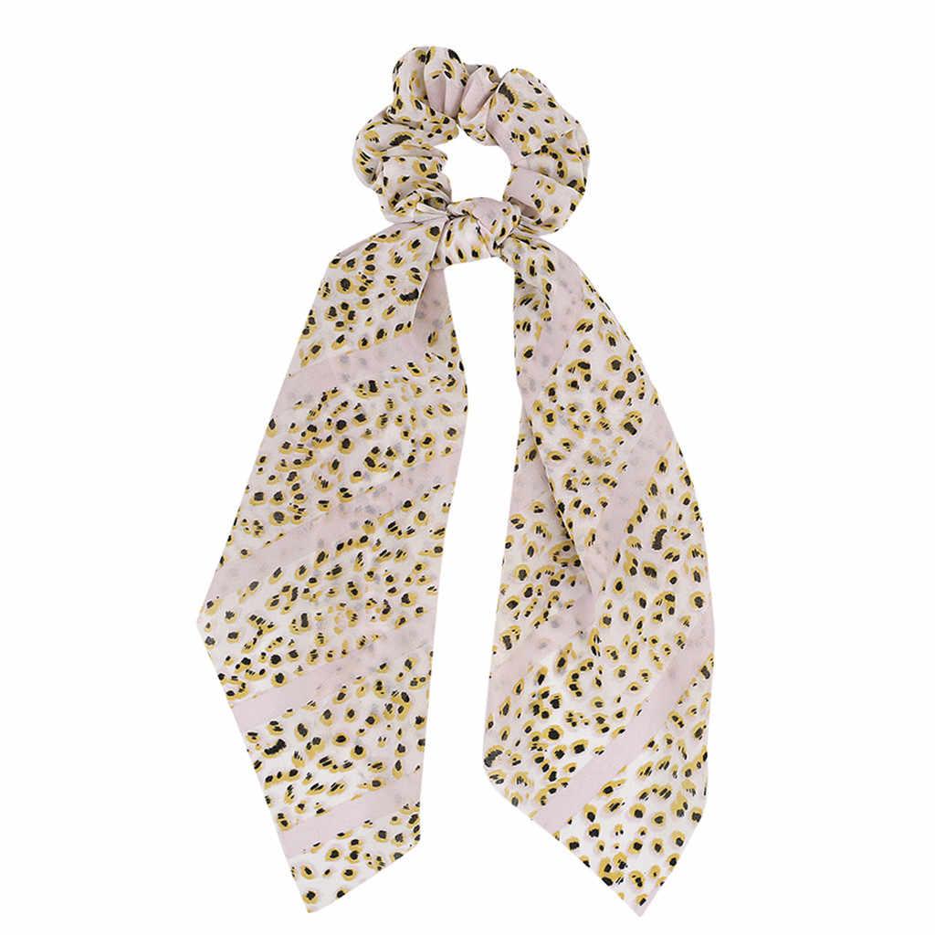 Bohemian Chiffon Flower Shrink Scarf Fashion Fabric Hairband Print Bow Knot Women Hair Ring Head Hoop Girls Headband Rope
