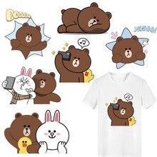 Cute Animal Patch Heat Transfer Vinyl Stickers for Kids Clothing DIY T-shirt Jacket Applique Iron-on Transfers Bear Rabbit Patch цена