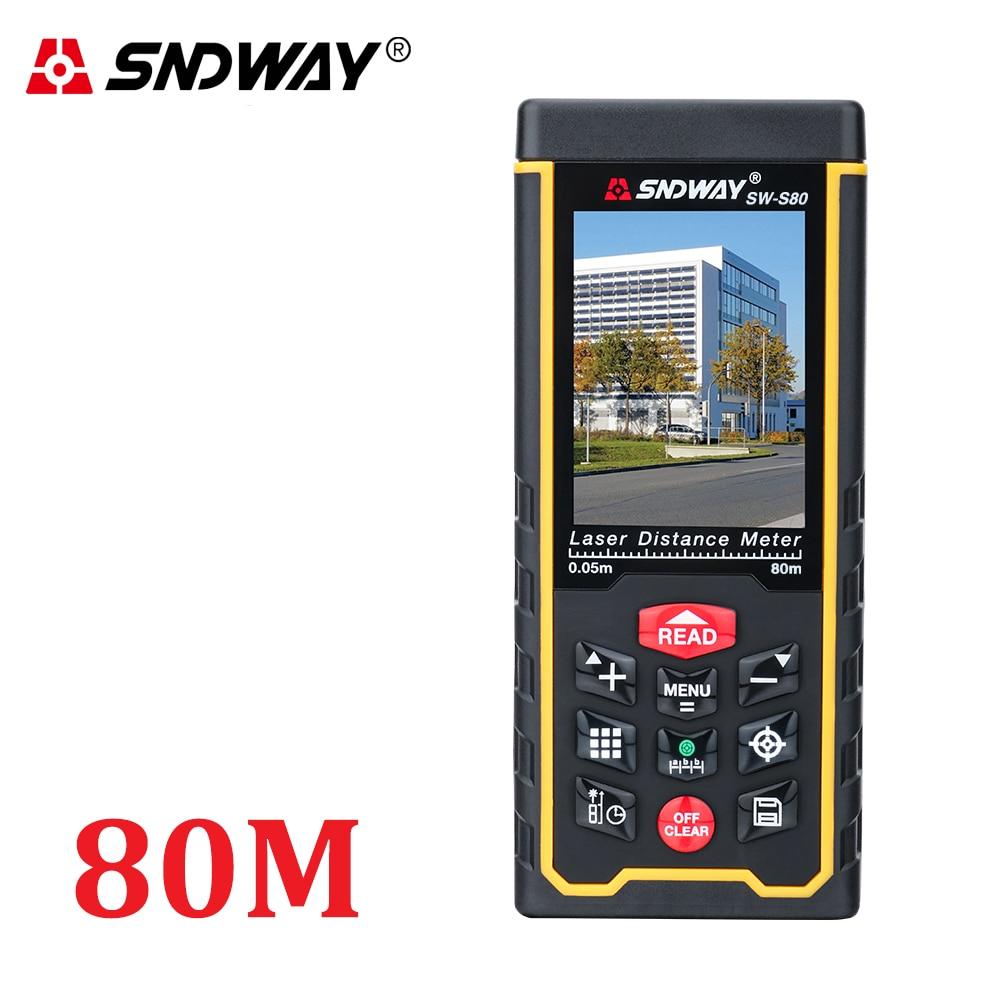 Lézeres távolságmérő Hatótávolságmérő kültéri 80m-es W-kamera újratölthető akkumulátor Színes LCD lézer-mérőszalag Terület / hangerő / szög Szerszámok