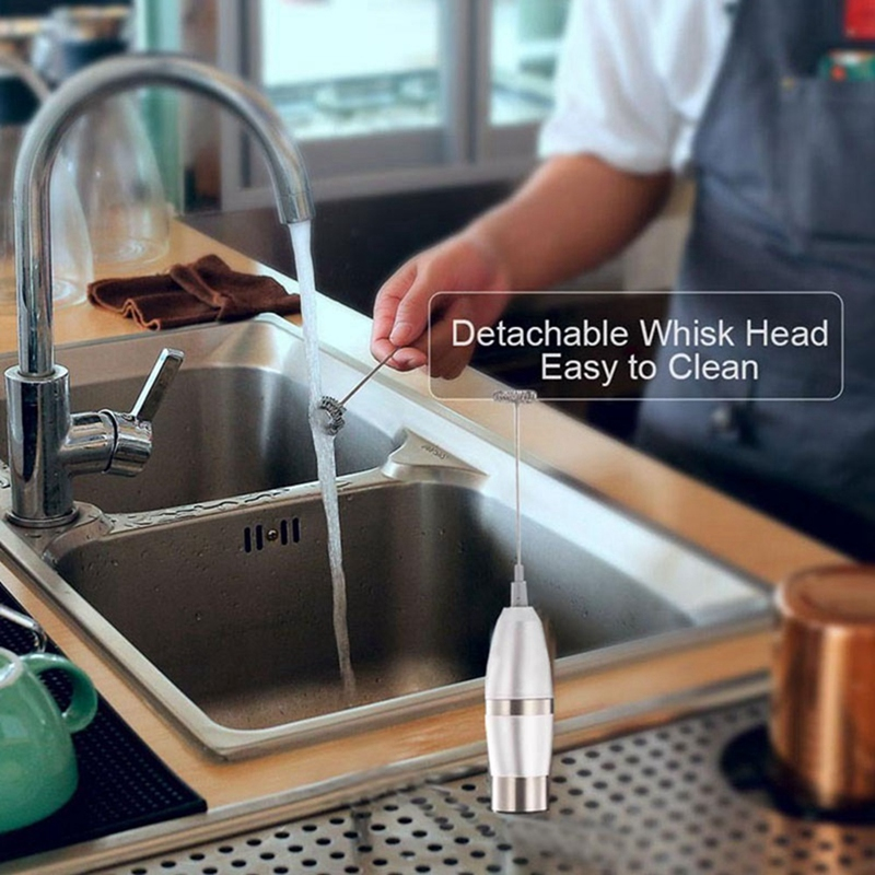 Electric Handheld Milk Frother Foamer Egg Beater Double Spring Triple Spring Whisk Head Stainless Steel Drink Mixer Coffee Maker