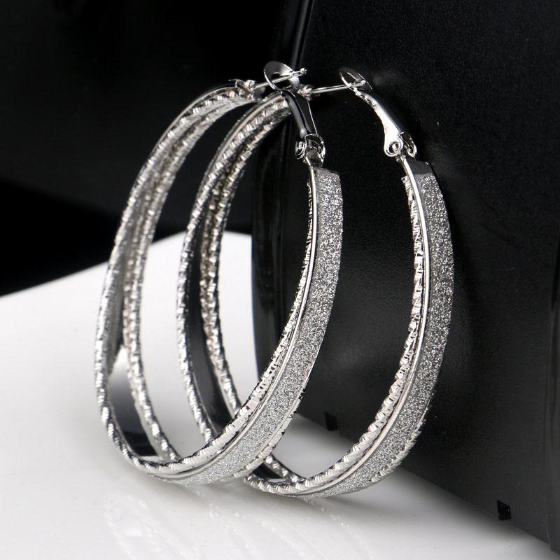 Personality Hip Hop Rock Oversized Hoop Earrings For Women High Quality 2 Color Frosted Earrings Wedding Birthday Jewelry