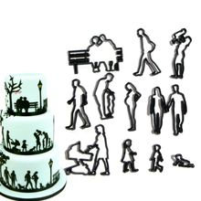 11pcs/set Plastic Family Cookie Cutter People Woman Man Baby Children Fondant Mold Cutter DIY Pastry Cake Decorating Baking Tool